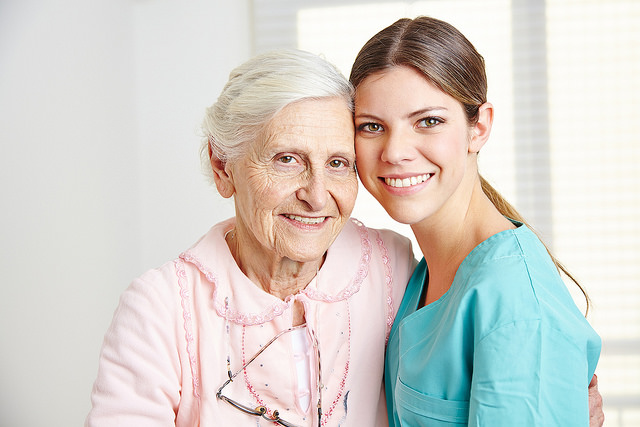 Home Health Care client with in-home care assistant.
